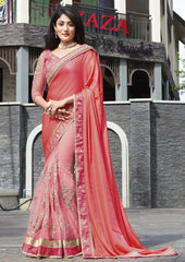 Shades Of Pink Color Half Net & Half Wrinkle Chiffon Festive Wear Sarees : Ruvini Collection  YF-48674