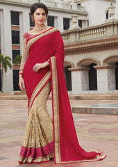 Light Coffee & Red Color Half Net & Half Raw Silk Festive Wear Sarees : Ruvini Collection  YF-48675