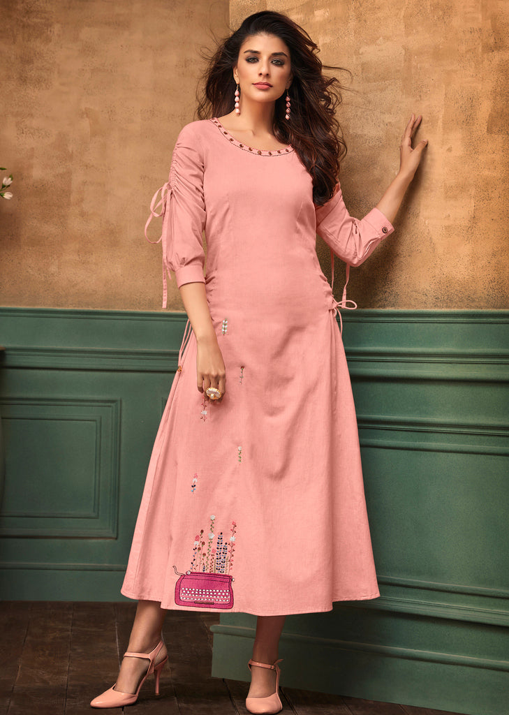 Pink Color Cotton Readymade Party Wear Kurtis ( Sizes - 40,42, 44): Navrasi Collection NYF-1904 - YellowFashion.in