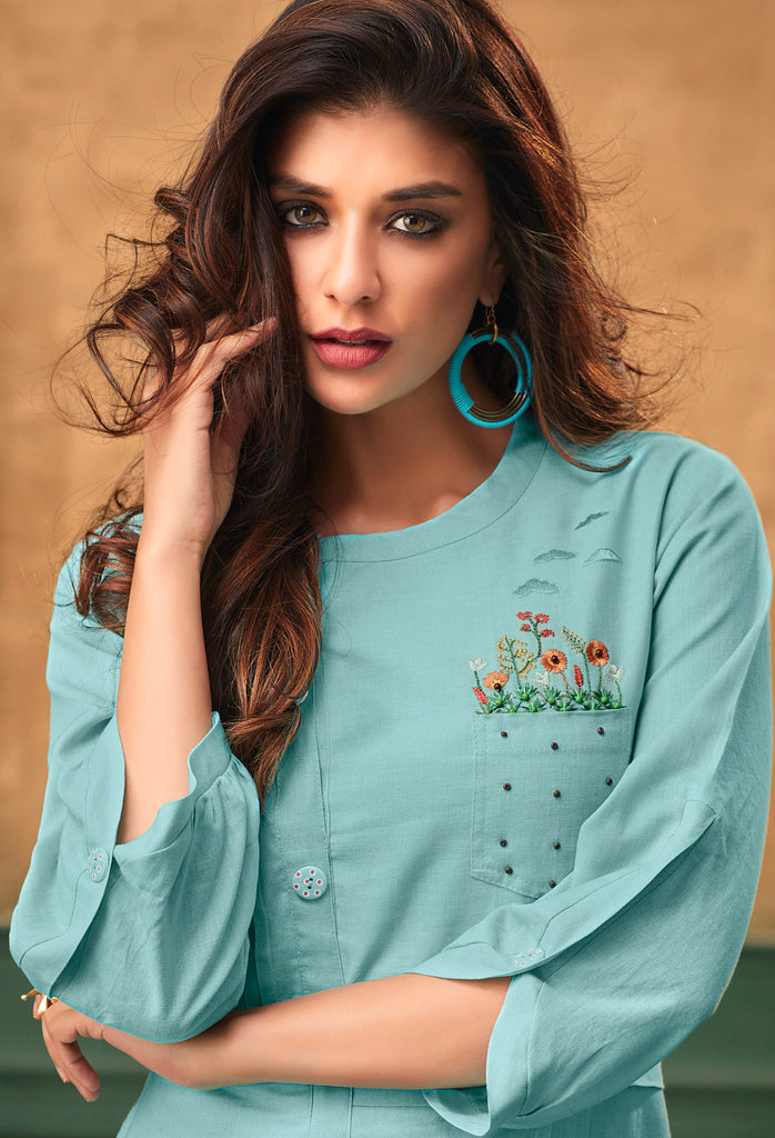Sky Blue Color Cotton Readymade Party Wear Kurtis ( Sizes - 40,42, 44): Navrasi Collection NYF-1907 - YellowFashion.in