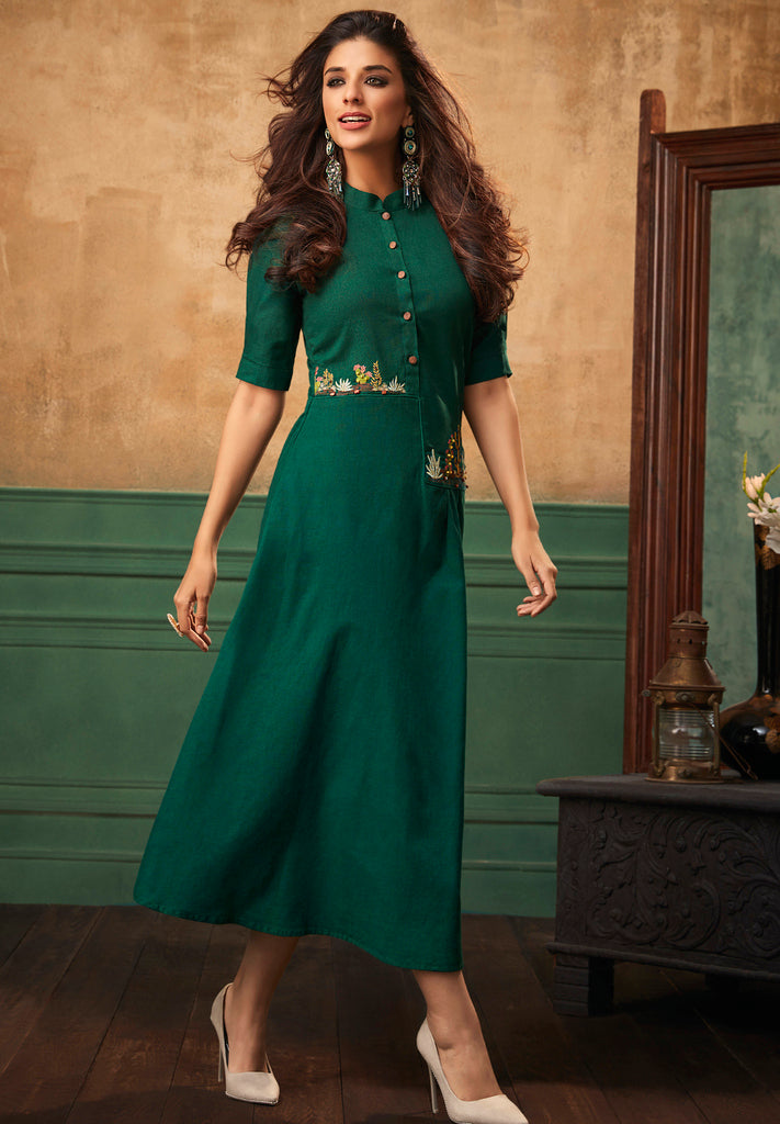 Bottle Green Color Cotton Readymade Party Wear Kurtis ( Sizes - 40,42, 44): Navrasi Collection NYF-1910 - YellowFashion.in