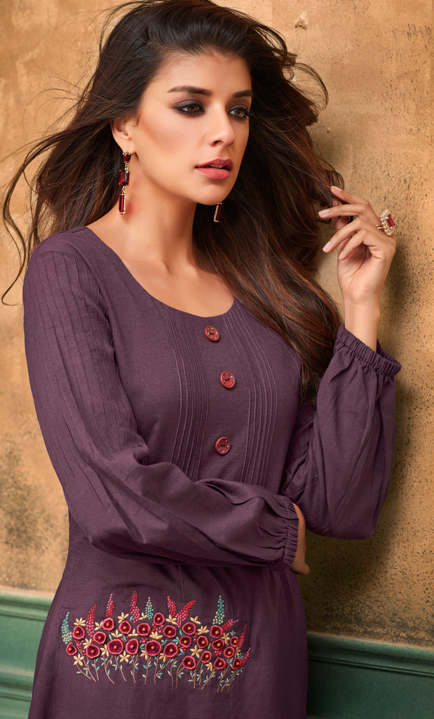 Purple Color Cotton Readymade Party Wear Kurtis ( Sizes - 40,42, 44): Navrasi Collection NYF-1916 - YellowFashion.in
