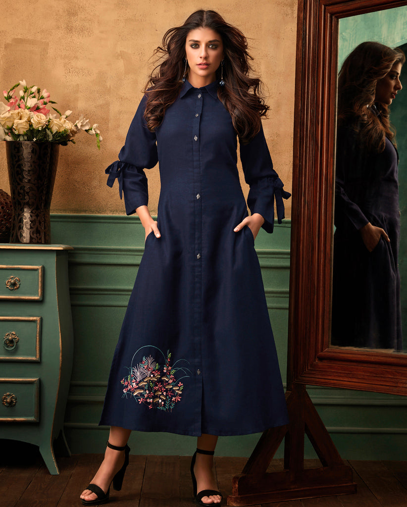 Blue Color Cotton Readymade Party Wear Kurtis ( Sizes - 40,42, 44): Navrasi Collection NYF-1919 - YellowFashion.in