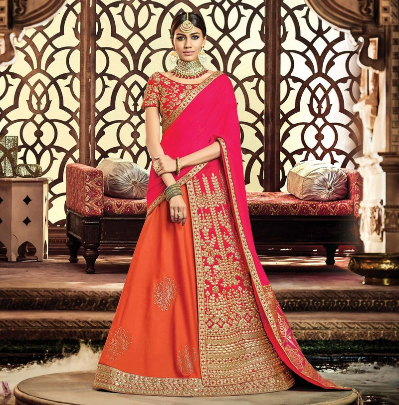Orange & Pink Color Half Taffeta Silk & Half Raw Silk Designer Lehenga Sarees : Sadhik Collection  NYF-1787 - YellowFashion.in