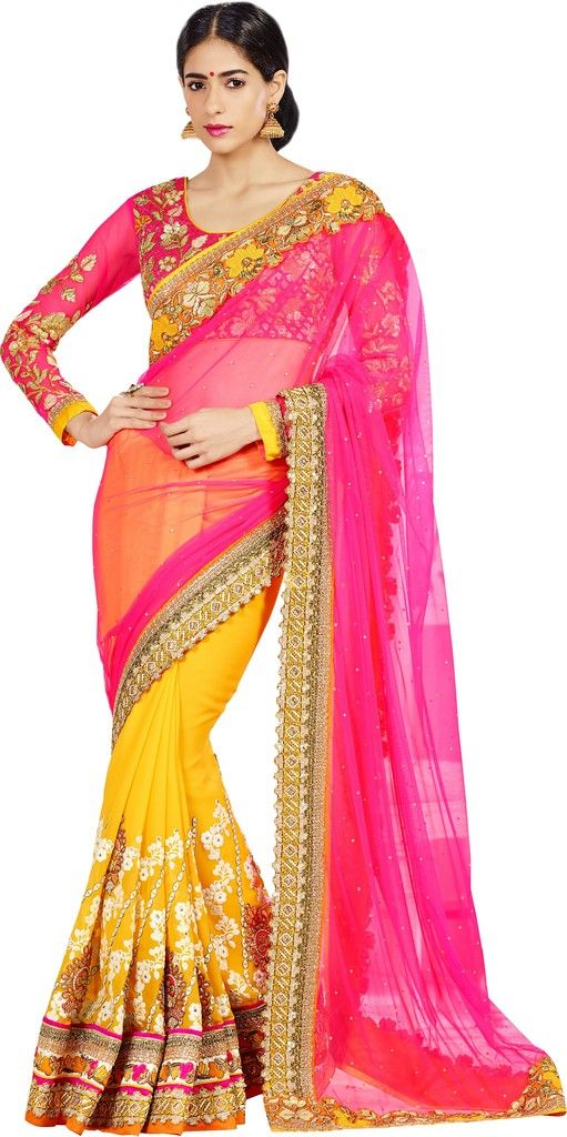 Pink & Yellow Color Half Georgette & Half Chiffon Designer Bridal Wear Sarees : Rupnikhar Collection  NYF-1455 - YellowFashion.in