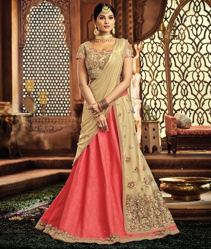 Pink & Golden Color Half Raw Silk & Half Net Designer Lehenga Sarees : Sadhik Collection  NYF-1789 - YellowFashion.in