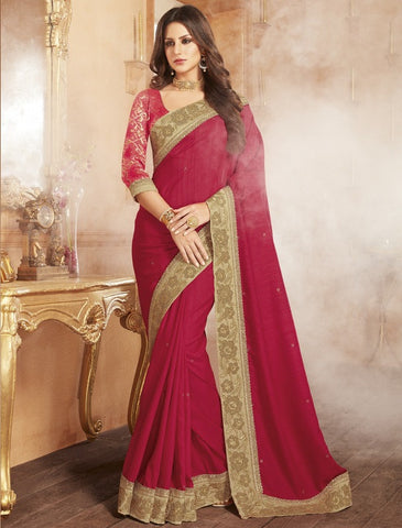 Rani Pink Color Raw Silk Designer Festive Wear Sarees : Shamaira Collection  YF-50872