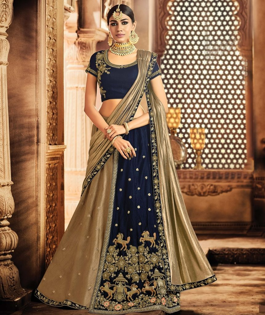 Navy Blue & Copper Color Half Velvet & Half Dupion Silk Designer Lehenga Sarees : Sadhik Collection  NYF-1790 - YellowFashion.in