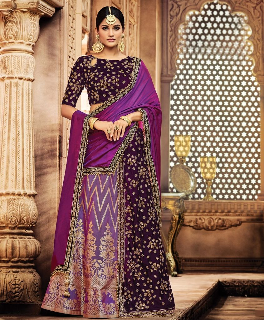 Purple Color Half Jacquard Silk & Half Velvet Designer Lehenga Sarees : Sadhik Collection  NYF-1791 - YellowFashion.in