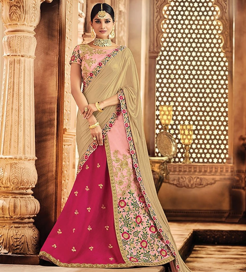 Pink Color Raw Silk Designer Lehenga Sarees : Sadhik Collection  NYF-1792 - YellowFashion.in