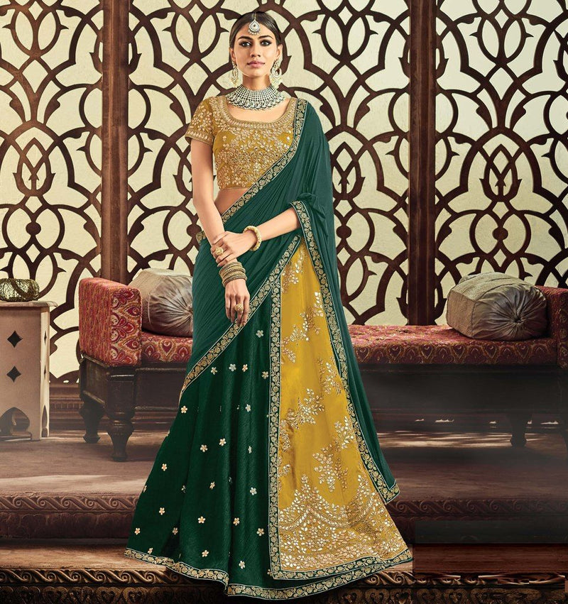 Mustard Yellow & Green Color Half Raw Silk & Half Taffeta Silk Designer Lehenga Sarees : Sadhik Collection  NYF-1793 - YellowFashion.in