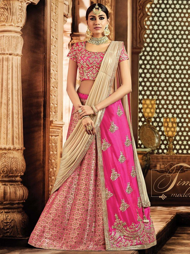 Pink Color Half Jacquard Silk & Half Taffeta Silk Designer Lehenga Sarees : Sadhik Collection  NYF-1794 - YellowFashion.in
