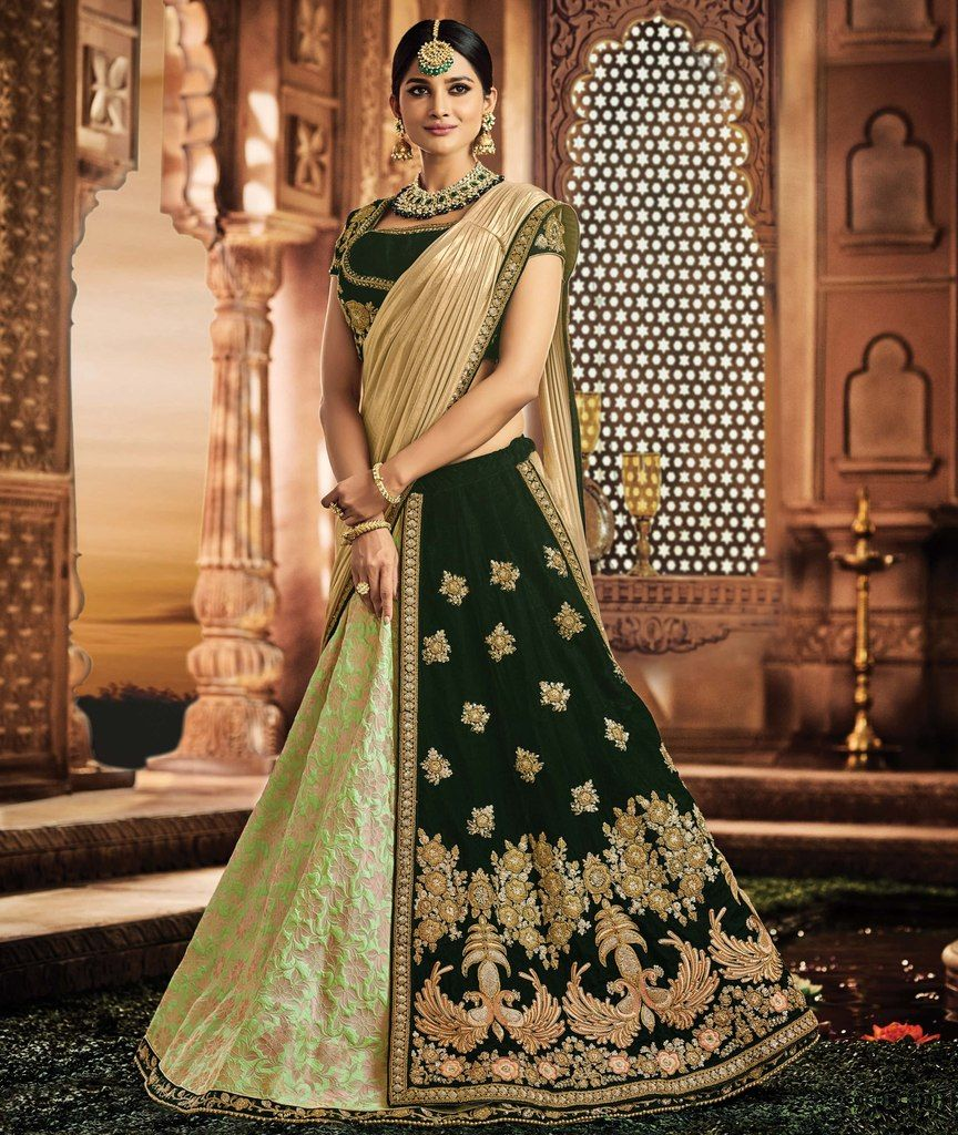 Green Color Half Jacquard Silk & Half Velvet Designer Lehenga Sarees : Sadhik Collection  NYF-1795 - YellowFashion.in