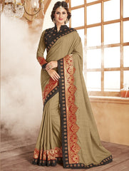 Beige Color Raw Silk Designer Festive Wear Sarees : Shamaira Collection  YF-50885