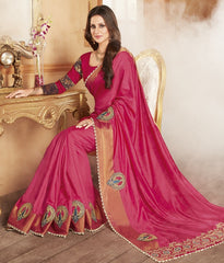 Pink Color Raw Silk Designer Festive Wear Sarees : Shamaira Collection  YF-50887
