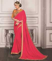 Pink Color Georgette Festive Sarees With Designer Blouses : Trinetra Collection  YF-53025
