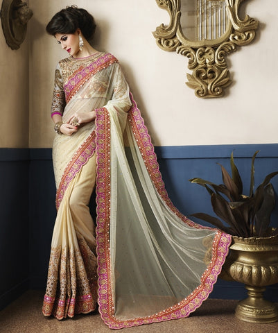 Cream Color Half Net & Half Georgette Designer Bridal Wear Sarees : Piyara Collection  YF-38041