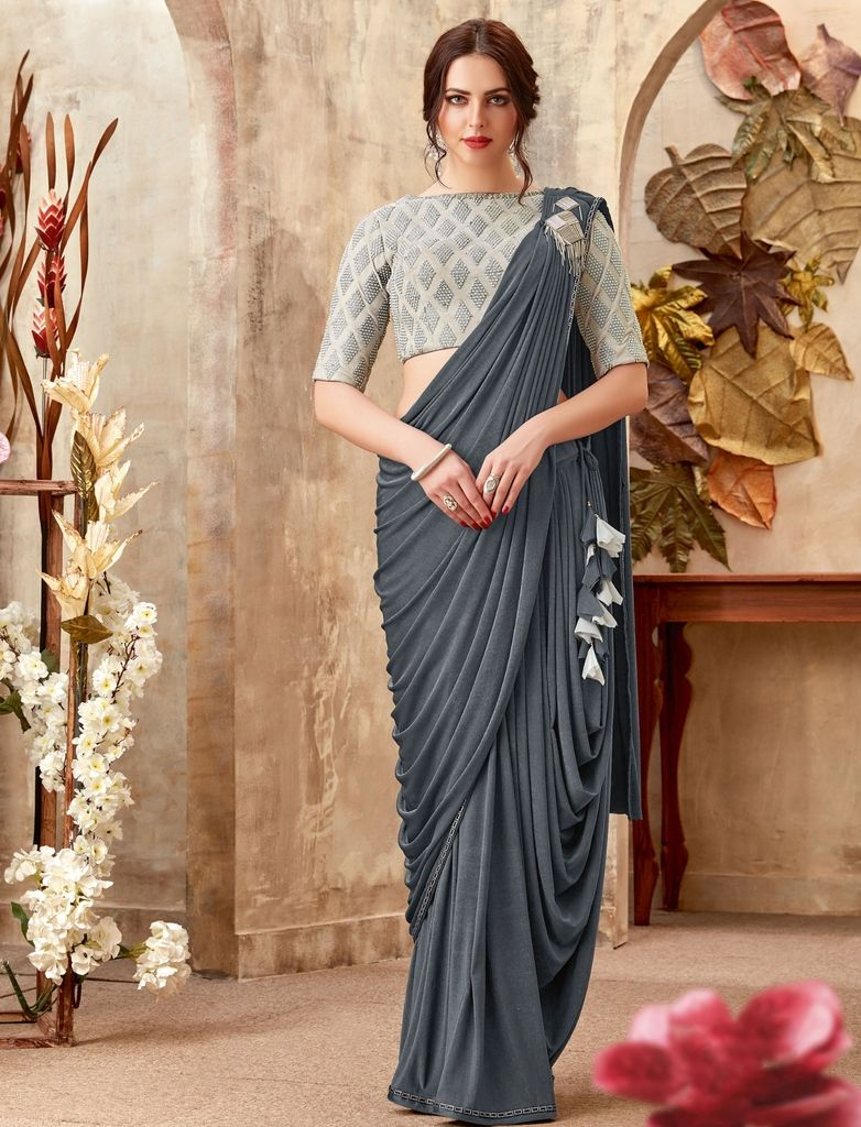 Grey Color Lycra Designer Ready To Wear Sarees : Sadhik Collection  NYF-1713 - YellowFashion.in