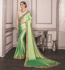 Green Color Wrinkle Chiffon Festive Sarees With Designer Blouses : Trinetra Collection  YF-53026