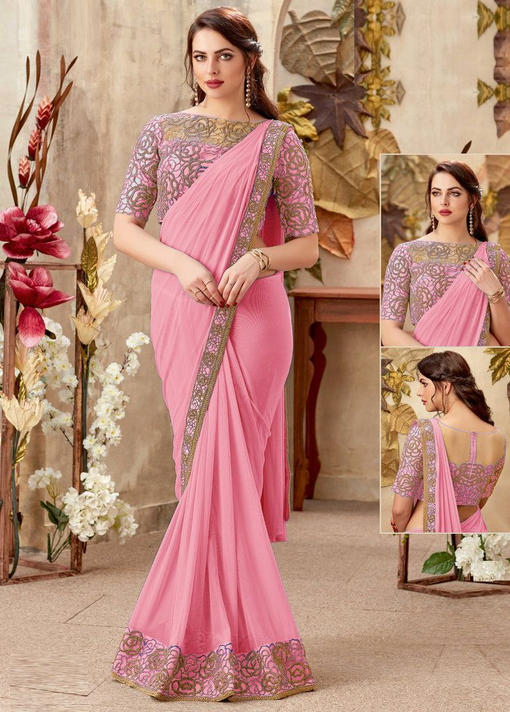 Pink Color Chiffon Designer Party Wear Sarees : Priyankar Collection  NYF-2031 - YellowFashion.in