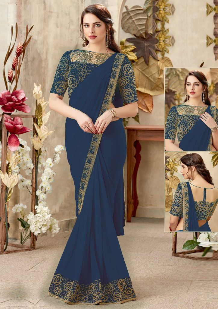 Blue Color Chiffon Designer Party Wear Sarees : Priyankar Collection  NYF-2032 - YellowFashion.in