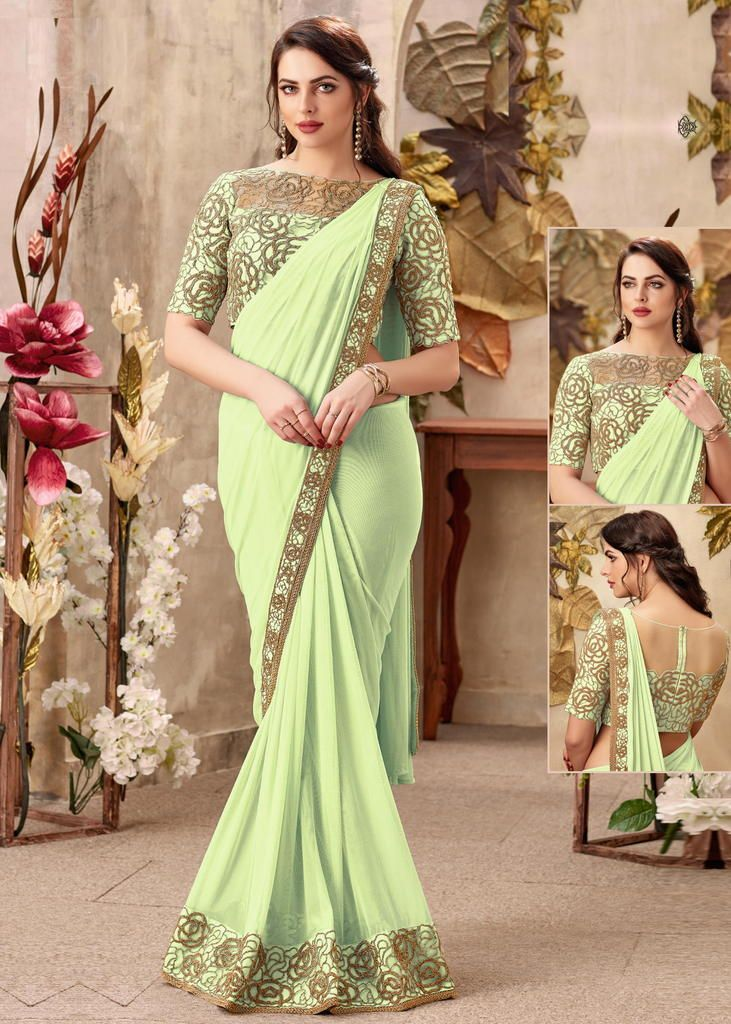 Pastel Green Color Chiffon Designer Party Wear Sarees : Priyankar Collection  NYF-2033 - YellowFashion.in