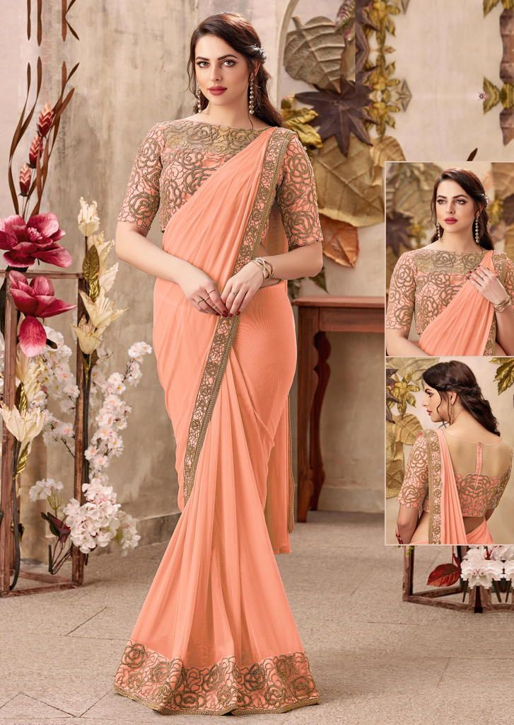 Peach Color Chiffon Designer Party Wear Sarees : Priyankar Collection  NYF-2034 - YellowFashion.in