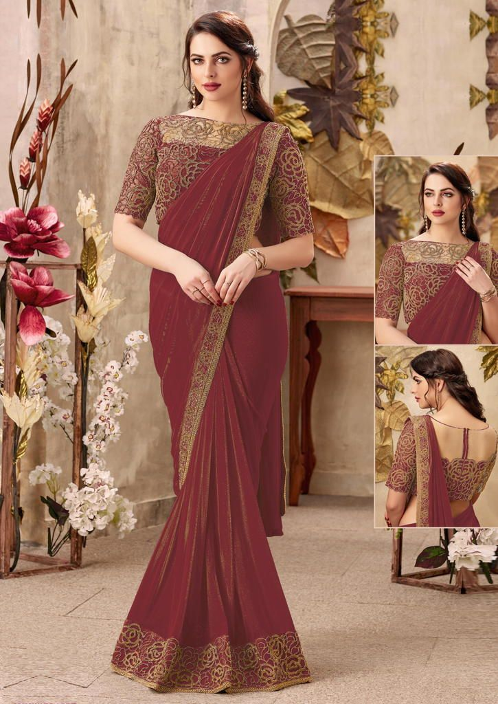 Maroon Color Chiffon Designer Party Wear Sarees : Priyankar Collection  NYF-2035 - YellowFashion.in