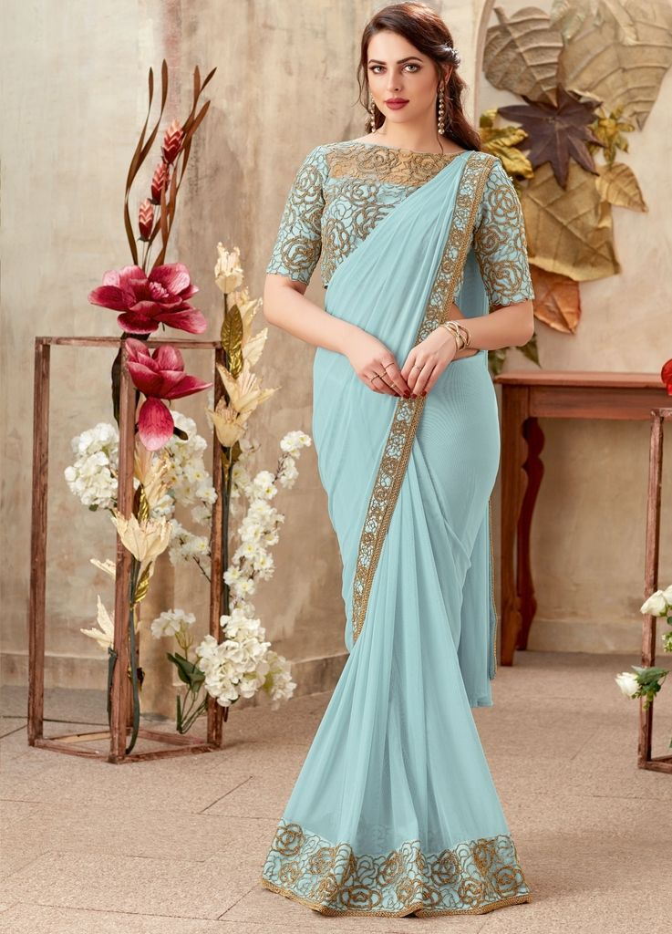 Sky Blue Color Chiffon Designer Party Sarees : Sadhik Collection  NYF-1714 - YellowFashion.in
