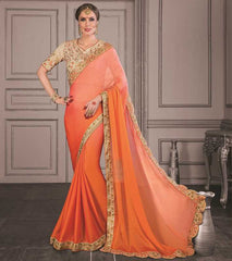 Orange Color Wrinkle Chiffon Festive Sarees With Designer Blouses : Trinetra Collection  YF-53027