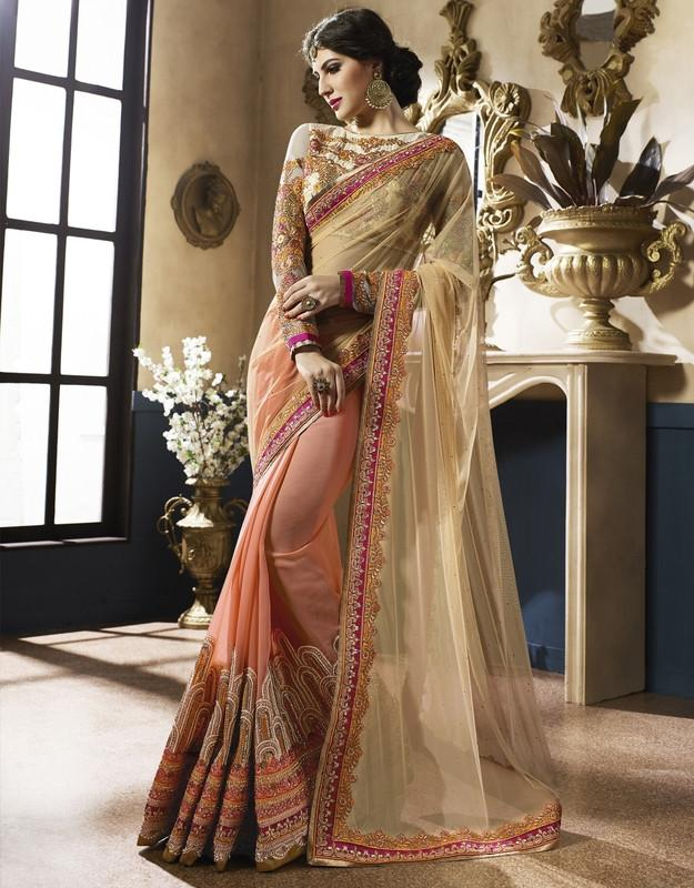 Peach & Light Golden Color Half Net & Half Georgette Designer Bridal Wear Sarees : Rupnikhar Collection  NYF-1457 - YellowFashion.in
