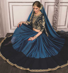 Blue Color Wrinkle Chiffon Festive Sarees With Designer Blouses : Trinetra Collection  YF-53028