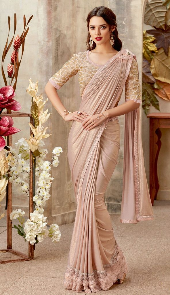 Pastel Pink Color Lycra Designer Party Wear Sarees : Priyankar Collection  NYF-2036 - YellowFashion.in