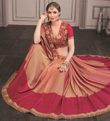 Peach & Pink Color Wrinkle Chiffon Festive Sarees With Designer Blouses : Trinetra Collection  YF-53029