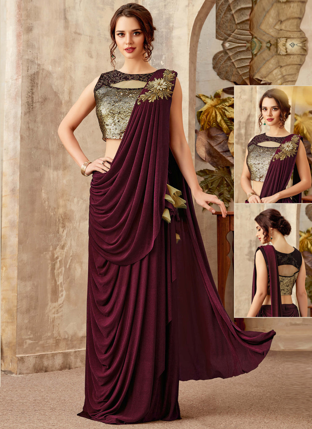 Maroon Color Lycra Designer Ready To Wear Sarees : Sadhik Collection  NYF-1716 - YellowFashion.in