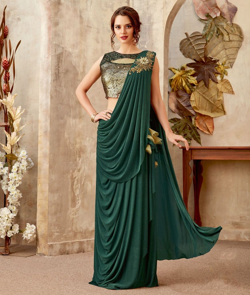 Green Color Lycra Designer Ready To Wear Sarees : Priyankar Collection  NYF-2037 - YellowFashion.in