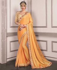 Yellow Color Wrinkle Chiffon Festive Sarees With Designer Blouses : Trinetra Collection  YF-53030