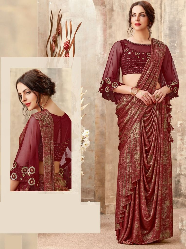 Maroon Color Lycra Designer Ready To Wear Sarees : Sadhik Collection  NYF-1717 - YellowFashion.in