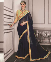 Blue Color Wrinkle Chiffon Festive Sarees With Designer Blouses : Trinetra Collection  YF-53031