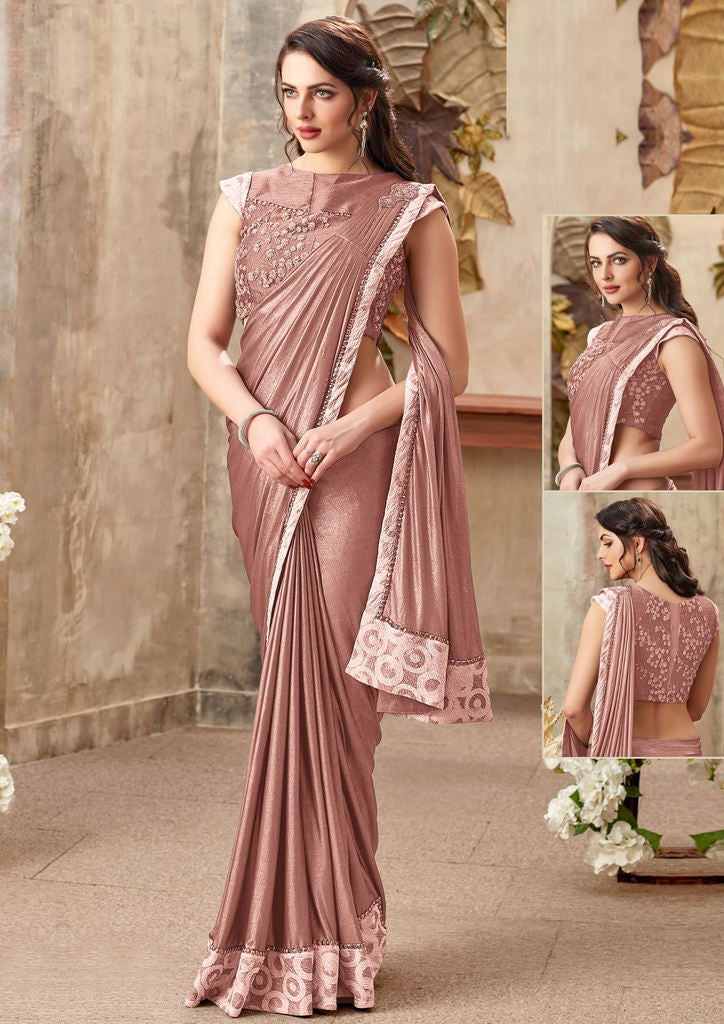 Pink Color Lycra Designer Party Wear Sarees : Priyankar Collection  NYF-2038 - YellowFashion.in