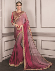 Pink & Wine Color Wrinkle Chiffon Festive Sarees With Designer Blouses : Trinetra Collection  YF-53032