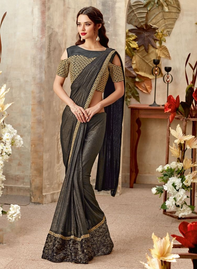 Blackish Grey Color Lycra Designer Party Sarees : Sadhik Collection  NYF-1719 - YellowFashion.in