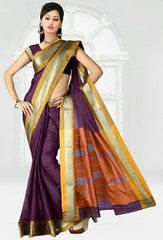 Magenta Color Cotton Casual Wear Sarees : Varni Collection  YF-30202