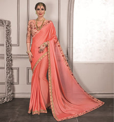 Peach Color Crepe Festive Sarees With Designer Blouses : Trinetra Collection  YF-53033
