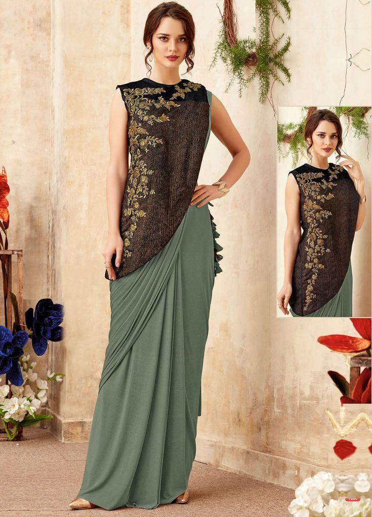 Green Color Lycra Designer Ready To Wear Sarees : Priyankar Collection  NYF-2039 - YellowFashion.in