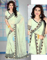 Off White Color Georgette Casual Party Sarees :  Kisna Collection  YF-28538