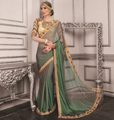 Green Color Wrinkle Chiffon Festive Sarees With Designer Blouses : Trinetra Collection  YF-53034