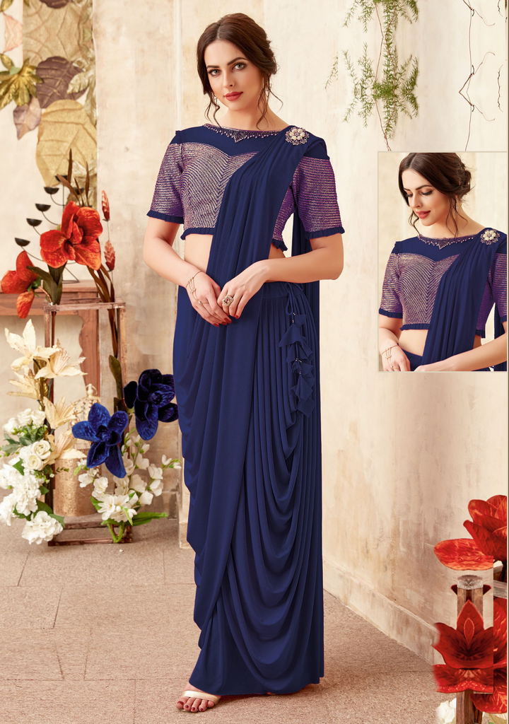 Blue Color Lycra Designer Ready To Wear Sarees : Priyankar Collection  NYF-2040 - YellowFashion.in