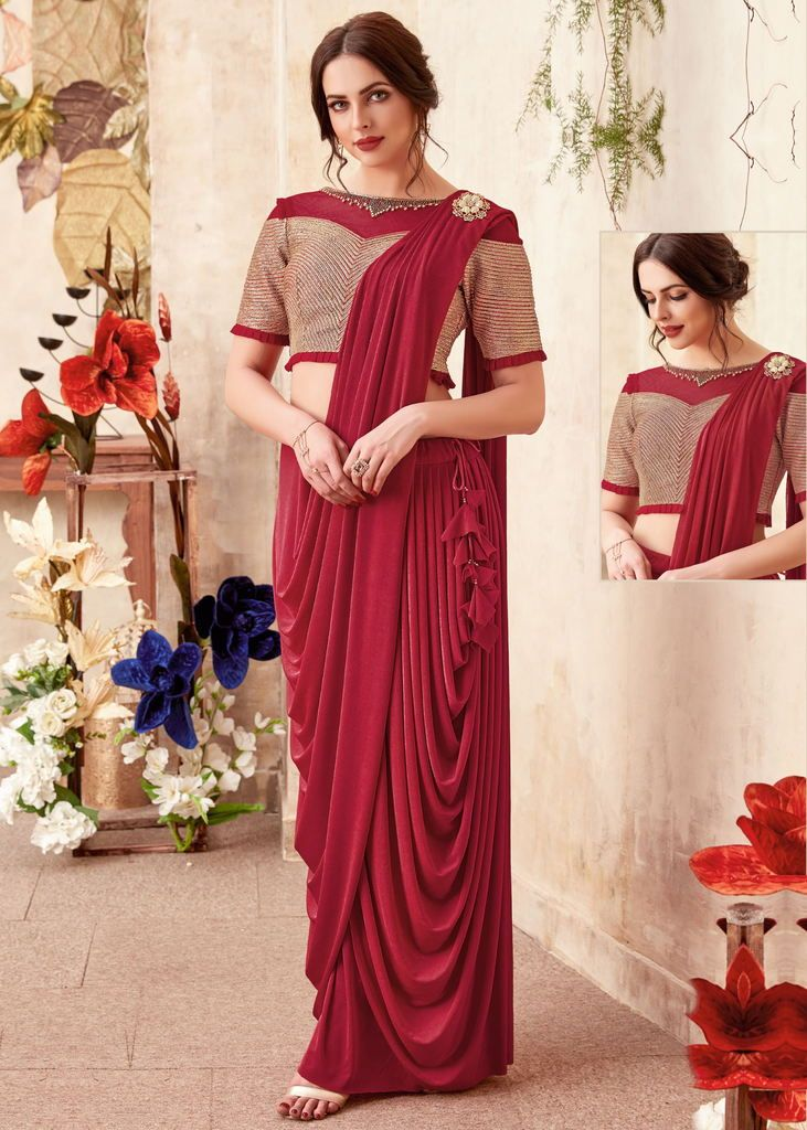 Maroon Color Lycra Designer Ready To Wear Sarees : Priyankar Collection  NYF-2041 - YellowFashion.in