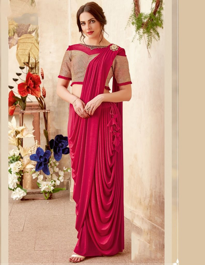 Pink Color Lycra Designer Ready To Wear Sarees : Sadhik Collection  NYF-1721 - YellowFashion.in